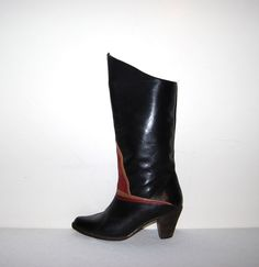 Vintage Boots Black with Rust by CheekyVintageCloset on Etsy, $54.00