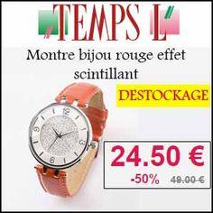 #missbonreduction; Déstockage: remise de 50% sur la Montre bijou rouge effet scintillant chez Temps L. http://www.miss-bon-reduction.fr//details-bon-reduction-Temps-L-i366-c1834635.html