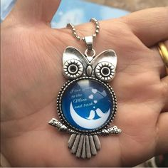 Beautiful Silver Owl Love to the Moon Necklace Brand New Jewelry Necklaces