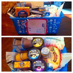 """""""Smile with the teeth you still have!"""" gift for him, wisdom tooth removal care kit filled with soft foods to eat after getting teeth pulled. Pudding, apple sauce, yogurt, Mac and cheese, chocolate, soup, ice cream, and even baby food (as a joke)."""