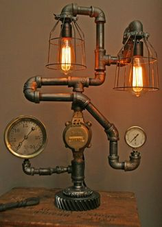 Machine Age Lamps Steampunk Gear Steam Gauge eclectic table lamps how cool Steampunk Interior, Steampunk Furniture, Vintage Industrial Furniture, Industrial Table, Industrial Lighting, Industrial Design, Steam Punk Diy, Lampe Steampunk, Steampunk House