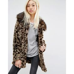 Unreal Fur Faux Fur Leopard Coat ($404) ❤ liked on Polyvore featuring outerwear, coats, brown, fake fur coats, faux fur coat, leopard coat, fake fur lined coats and imitation fur coats