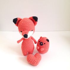 Amigurumi  Fox Amigurumi Cat with Heart Set by PrincessInDreams