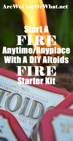 "Start A Fire Anytime/Anyplace With A DIY Altoids Fire Starter Kit | Are We Crazy, Or What?: ""There aren't a lot of these storage containers left; in our disposable culture most packaging these days is pretty flimsy. What we do have left are Altoids tins – metal, with hinged lids, small enough to stash in a pants pocket. It's perfect for a small fishing kit, repair kit, or as I'll show you today, a fire starter kit."" 