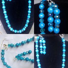 #parure in #pietra dura e #cristallo #blu #naturale. #fattaamano.  #necklace & #earrings in #stone and #crystals in #blue. #handmade.  #collar y #pendientes con ##piedras y #cristales #azules. #hechaamanos.  www.oro18.eu info@oro18.eu