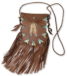 "Teepees and feathers hand-painted on soft dark brown deerskin. Convenient, compact size with extra long fringe, snap flap, twisted shoulder strap, whip-stitch detail. 6½"" w x 8½"" h. Patricia Wolf. Made in the USA."
