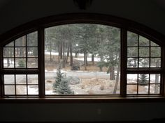 Timberline Framers Inc, Pagosa Springs, Colorado. Arched window overlooking pine trees in Colorado mountains.