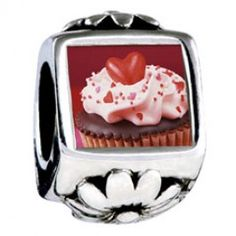 Chocolate Cupcake Love Photo Flower Charms  Fit pandora,trollbeads,chamilia,biagi,soufeel and any customized bracelet/necklaces. #Jewelry #Fashion #Silver# handcraft #DIY #Accessory