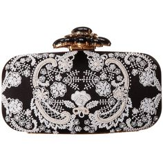 Oscar de la Renta Cabochon Goa (Black/White) Clutch Handbags ($677) ❤ liked on Polyvore featuring bags, handbags, clutches, bolsas, black, white and black handbags, black and white clutches, black white purse, strap purse and sequin handbags