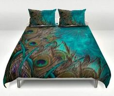 Teal Peacock Duvet Set Peacock Bedding - All About Decoration Teal Bedding Sets, Queen Bedding Sets, Duvet Sets, Teal Comforter, Dorm Bedding, Peacock Decor Bedroom, Peacock Bedding, My Living Room, My New Room