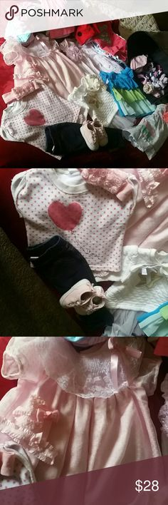 Huge 50 pieces 6-9 months GIRLS LOT Huge lot of baby girls clothes sizes from 6-9 months. Includes 17 Onesies, 1 pair of tennis shoes, 8 dresses, jeans , shorts, leggings, tops , lots of hair accessories and socks. Some new pieces included.  FREE GIFT INCLUDED !!!! Mixed Matching Sets