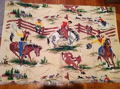 Vintage Bark Cloth Cowboy Western  -  I want some pillows in this print