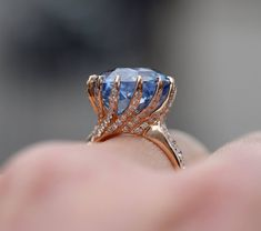 Etsy One of a kind Engagement Ring. GIA certified Blue Sapphire Ring. 18k Rose Gold 11.32ct Round sapphir