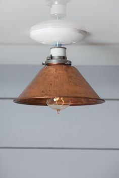 Copper Metal Shade Light - Semi Flush Mount Lamp - Industrial Light Electric - 1