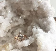 geometric black diamond engagement ring + arc wedding band :: Alexis Russell
