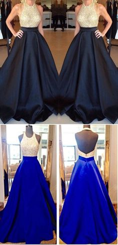 A Line Satin Fabric Prom Dress,Sexy Sequined Bodice Evening Dress,Backless Crew Neckline Formal Dress for Party