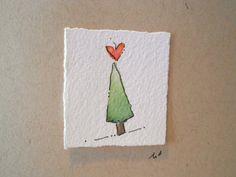 "Christmas Cards Watercolor ""Tree Love"" Two Original Art Blank Cards With Envelope betrueoriginals"