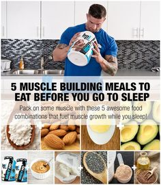 If you're struggling to pack on mass, try adding these meals just before bed. These 5 meals are full of and healthy fats to fuel muscle growth while you sleep. (Try Workout Diet) Sports Nutrition, Nutrition Tips, Fitness Nutrition, Men's Fitness, Muscle Fitness, Nutrition Tracker, Cheese Nutrition, Nutrition Store, Weight Gain