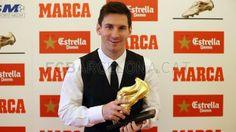 Messi receiving his 3rd Golden Boot 2012/13
