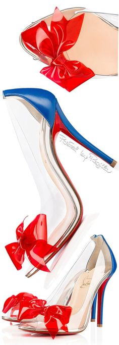 Christian Louboutin ~ Spring Bow Toe Pumps, Red/Blue, 2015