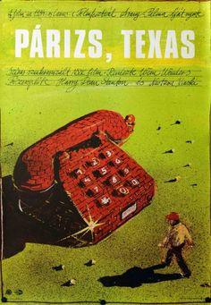 Paris, Texas Hungarian poster by Berta Gábor. Best Movie Posters, Original Movie Posters, Film Posters, Paris Texas, Poster On, Poster Prints, Texas Movie, Green Movie, Nastassja Kinski