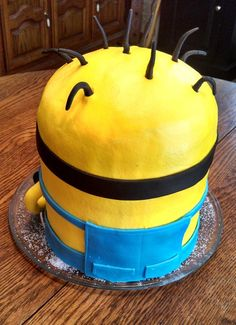 How to Minion Cake 3D   minion 3d cake 3d minion cake made from 4 8in round layers then iced ...