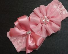 Discover thousands of images about Fabric flowers Hair Ribbons, Ribbon Bows, Baby Tiara, Flower Hair Bows, Bow Pattern, Lace Hair, Making Hair Bows, Lace Headbands, Diy Hair Accessories