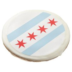 #Flag of Chicago Illinois Sugar Cookie - #Chocolates #Treats #chocolate