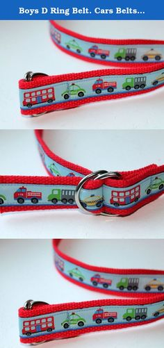 Boys D Ring Belt. Cars Belts Firetruck Belt Dump truck Belt. Boys D ring Vehicles Belt Handmade Kids Belt. Boys belt with cars, trucks, firetruck, buses and taxis made to order. The belt would look look cute with green, navy, grey or black webbing also. This belt can worn over clothes or just to hold up those baggy pants. I can make them to fit your child or teens waist plus about 6 inches. Silver D ring buckle makes it easy for kids to make sure their pants stay up. This belt is 1' thick.