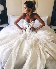 White Wedding Dresses Ball Gown Sweetheart Bridal Gowns With Ruffles Long Quinceanera Dresses,sweet 15 dresses by DestinyDress, $227.39 USD