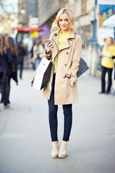 cute trench coat + ankle boots.
