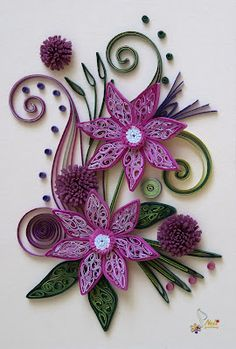 Quilling card - purple flowers