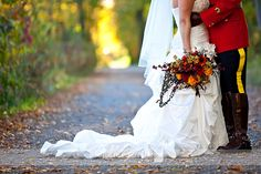 RCMP wedding, very colorful bouquet!