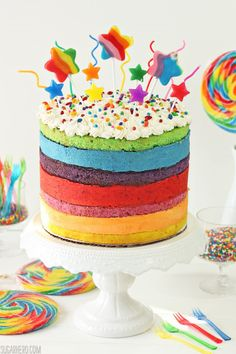 Rainbow Mousse Cake   Each colorful layer is a different fruit flavor, so this cake is bursting with bright, sweet-tart flavor.  @elabau