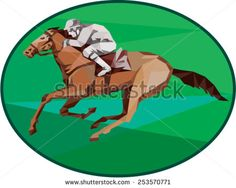 Low Polygon style illustration of horse and jockey racing viewed from the side set inside oval shape on isolated background.