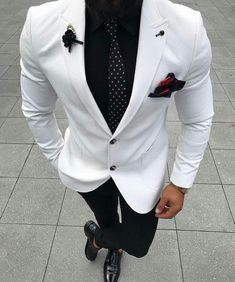 Ideas Wedding Suits Men Black And White Menswear Blazer Outfits Men, Stylish Mens Outfits, Tuxedo For Men, White Suits For Men, Prom Suits Black And White, Best Prom Suits For Men, White Prom Tux, Suit Styles For Men, Black Tuxedo Wedding