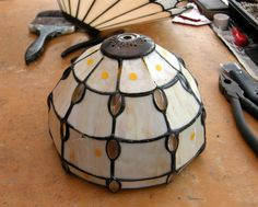 lamp repair from Buckingham.before piccy. Stained Glass Lamps