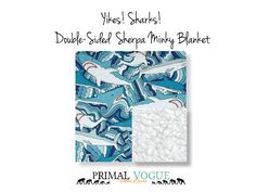 Ocean Shark Double-Sided Sherpa Minky Blanket by Primal Vogue™ - 36x36 40x60 - Aqua Blue, Red, White, Black - Very Soft Faux Lamb Minky