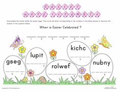 Worksheets: Unscramble Easter Words!