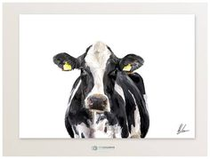 Dairy Cow Art Print Holstein Friesian Cow Painting Cow