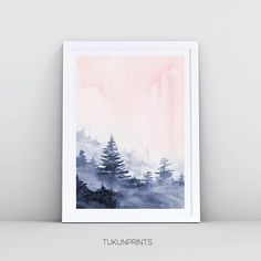 Forest Print, Foggy Forest, Blush Pink Print, Watercolor Printable Abstract Art, Blush Pink Blue Watercolor Wall Art Nature Print, Digital