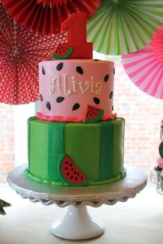 Fantastic cake at a watermelon birthday party! See more party ideas at CatchMyPa. Fantastic cake a Watermelon Birthday Parties, Watermelon Baby, Summer Birthday, Girl First Birthday, Birthday Fun, First Birthday Parties, Birthday Party Themes, Watermelon Cake Ideas, Birthday Ideas