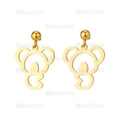 pendientes de koala dorado acero para mujer -SSEGG954532