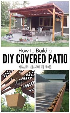 Beautiful idea for your backyard! How to build a DIY covered patio using lattice and wood to create a little shade from the sun.