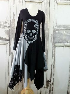 Womens, black and grey, black and gray, goth, lagenlook, eco fashion, upcycled clothing tunic dress in small. One-Of-A-Kind, handmade, womens