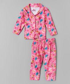 Look at this #zulilyfind! 1000% Cute Pink Cupcake Flannel Pajama Set - Infant & Toddler by 1000% Cute #zulilyfinds