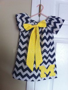 Michigan Wolverines Chevron Peasant Dress