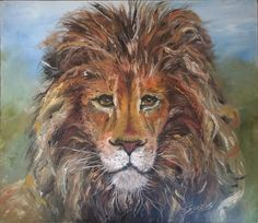 Hand Painted Lion Oil Painting on Canvas, Signed
