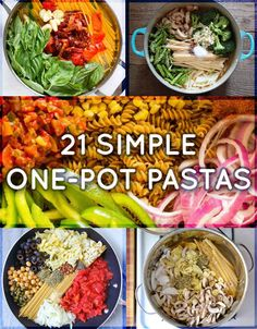 21 Simple One-Pot Pastas aka wonderpots aka the thing to make on that night when you Just Can't. 1 Pot Pasta, Pasta In A Pot Recipe, Pasta Noodles, Pasta Recipes, Vegetarian Recipes, Cooking Recipes, Vegetarian One Pot Meals, Easy Cooking, Dinner Recipes