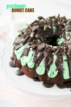 Grasshopper Bundt Cake -- so fudgy, minty, and moist. I took this to a church gathering and didn't have a slice left!!